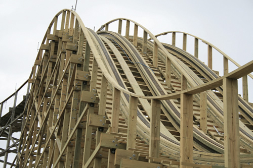 Treated wood roller coaster. Impressive use of wood.