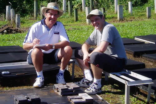 Joran Jermer and Gerard Deroubaix at work in Hilo.